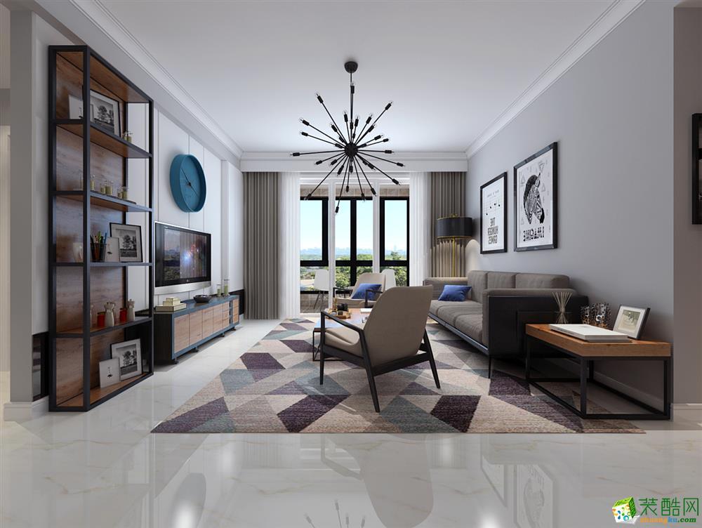 北欧风格110平米三室两厅装修案例效果图--和信居装饰