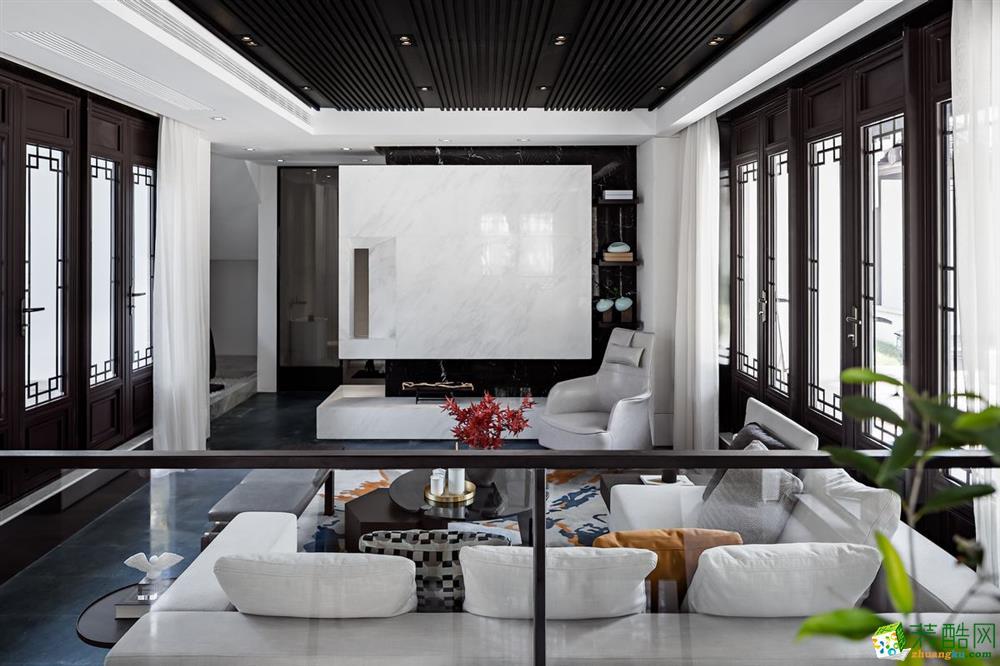 新中式风格330平米跃层住宅装修案例效果图--幸福魔方装饰