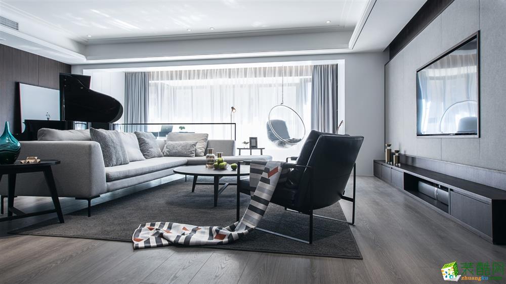 黑白简约风格128平米三室两厅装修案例效果图--星艺装饰