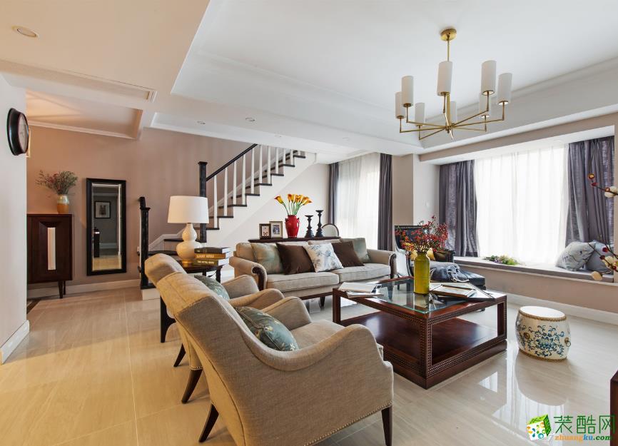 现代简约风格126平米三室两厅装修案例效果图--大筑装饰