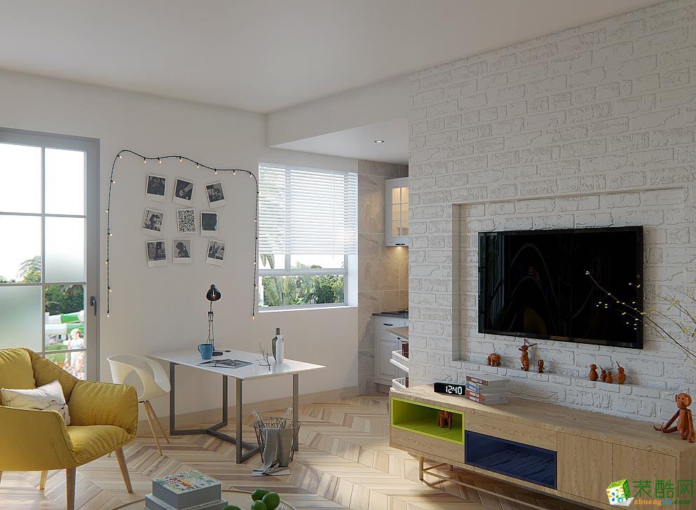 现代简约风格123平米三室两厅装修案例效果图--德雕装饰
