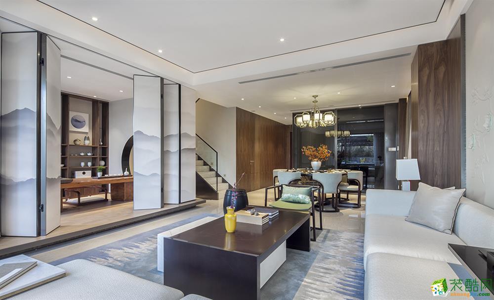 新中式风格180平米跃层住宅装修案例效果图--柯演装饰