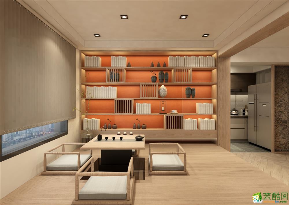 新中式风格105平米三室两厅装修案例效果图--红玛瑙装饰