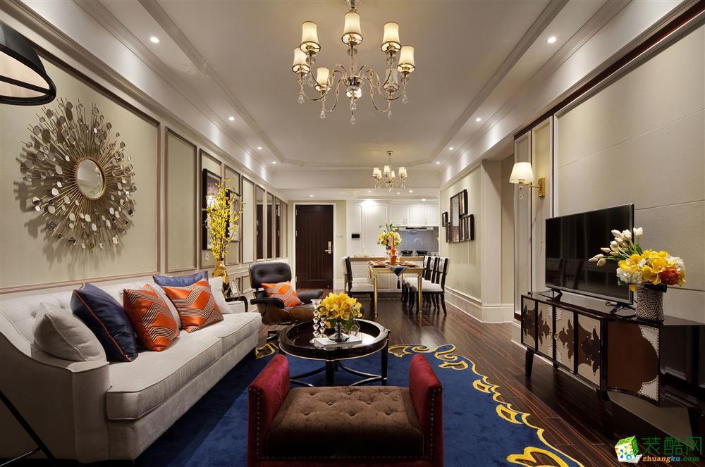 新中式风格105平米三室两厅装修案例效果图--爱特装饰