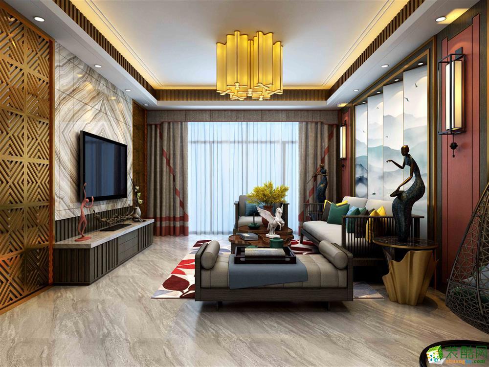 新中式风格132平米四居室装修案例效果图--港宏装饰