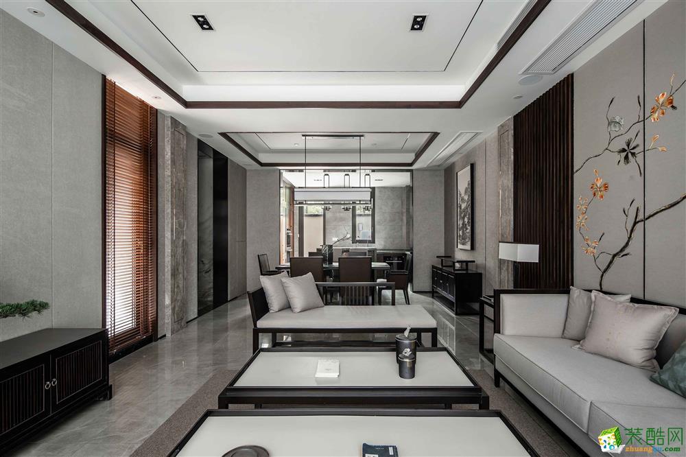 新中式风格130平米三室两厅装修案例效果图--龙发装饰