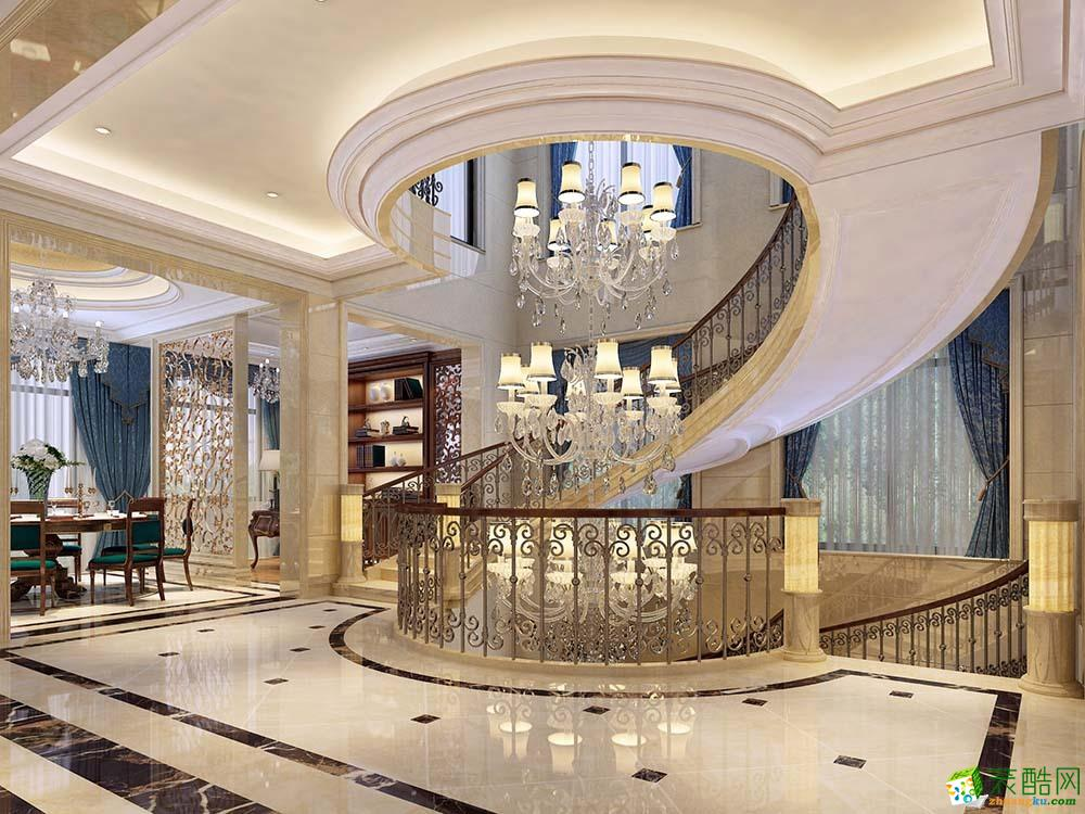 过道吊顶 云间绿大地600平别墅欧式古典设计装修案例效果图赏析--腾龙