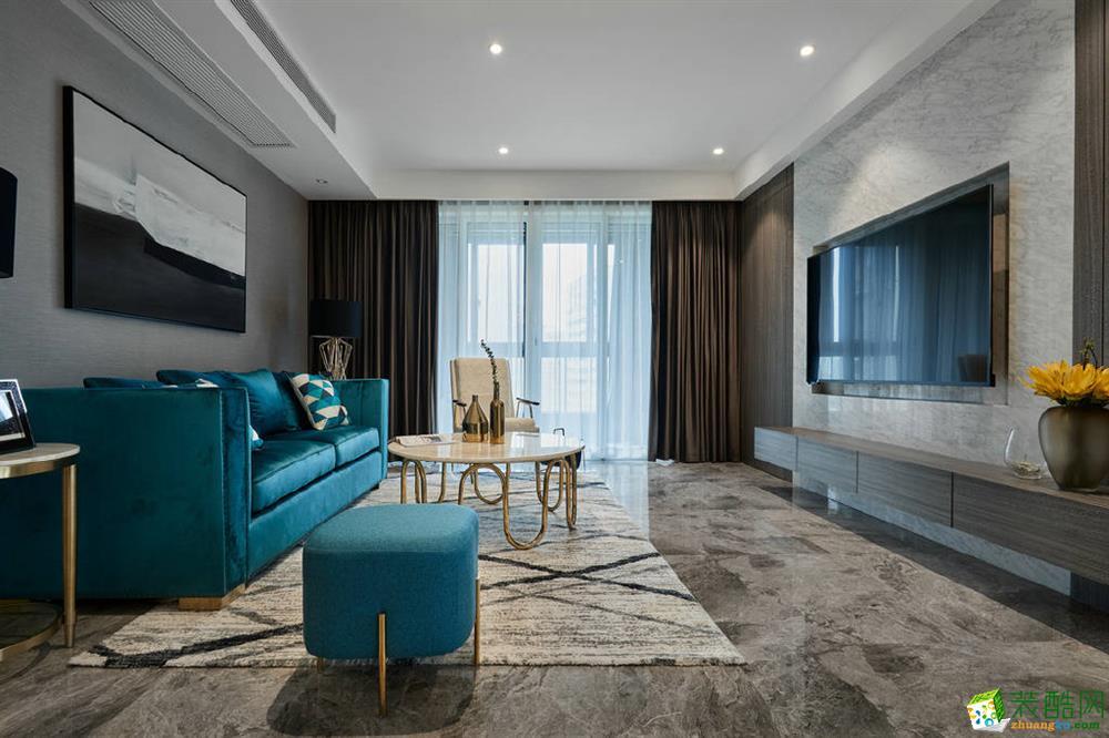 141平现代风四居室装修效果图-翰林蓝山
