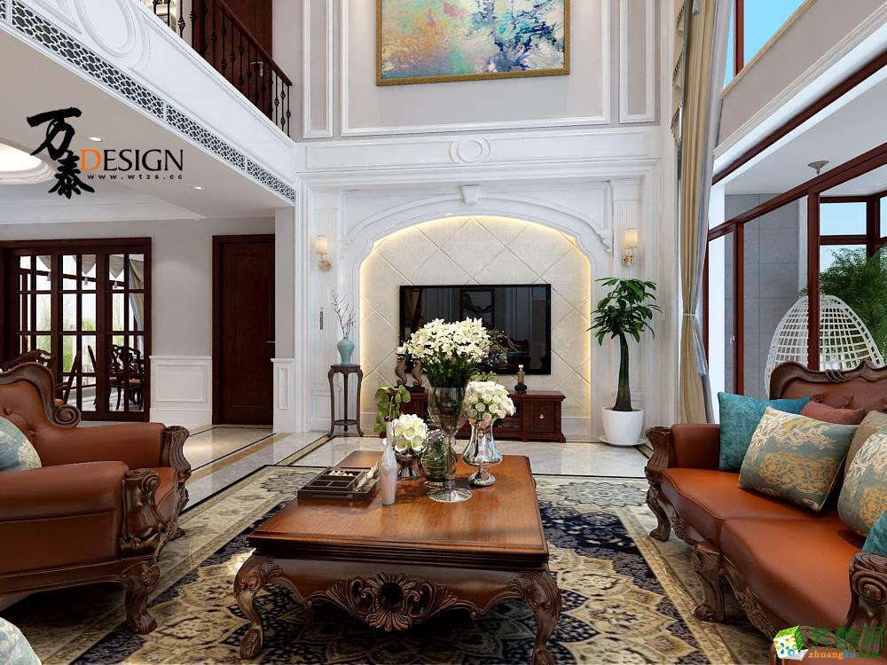 长清御龙湾双拼别墅360平方美式风格设计
