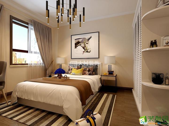 卧室  【大树装饰】鲁商松江新城70�O新中式风格装修效果图