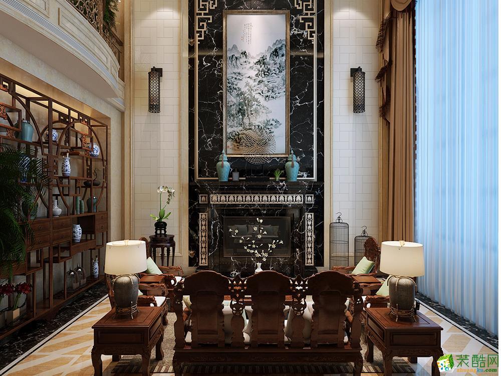 中海紫御豪庭独栋别墅中式风格600平米装修案例效果图--腾龙设计
