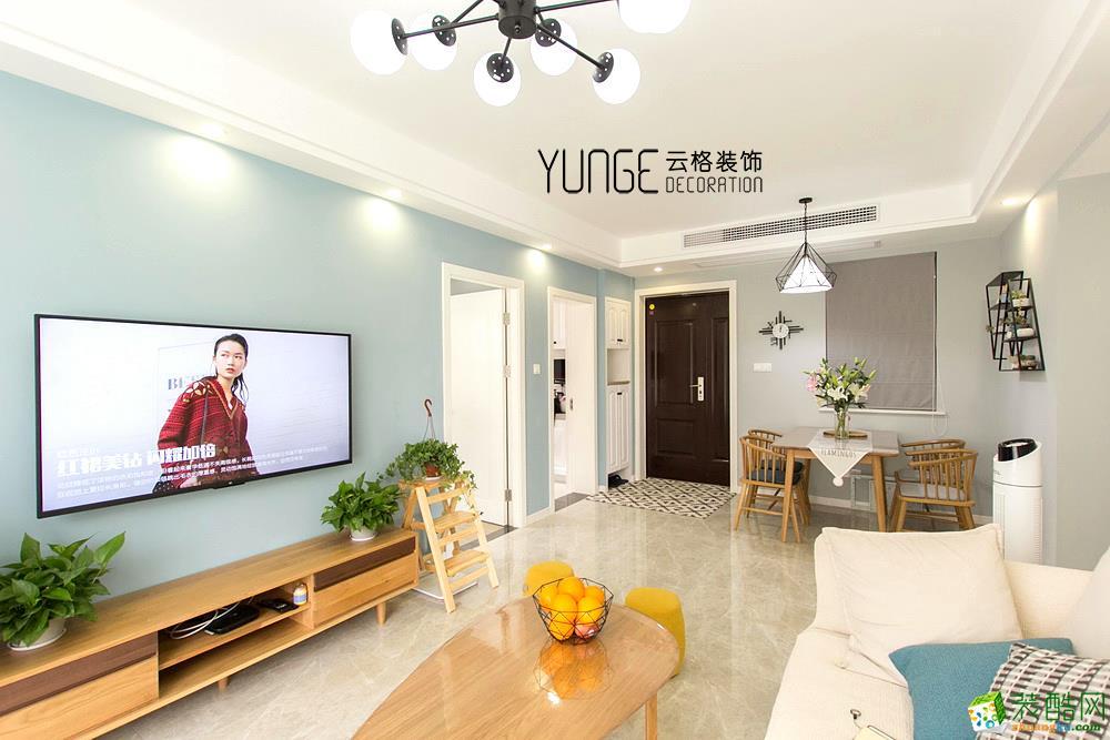客厅电视背景墙  云格装饰―英特学府92方北欧风格三室一厅装修效果图