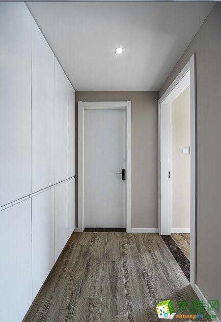过道吊顶 原木现代简约风格150平米三室两厅装修案例效果图赏析--80印象装饰 原木现代简约风