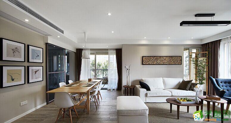 客厅 原木现代简约风格150平米三室两厅装修案例效果图赏析--80印象装饰 原木现代简约风