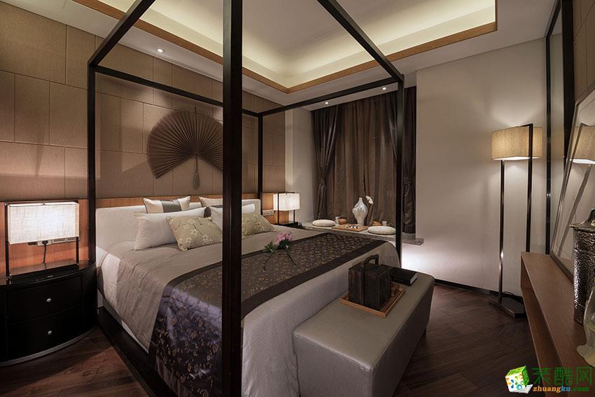 钱塘帝景102方新中式风格三室一厅装修效果图
