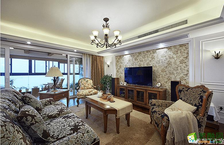 陈萍设计工作室―89方三室一厅美式风格装修效果图