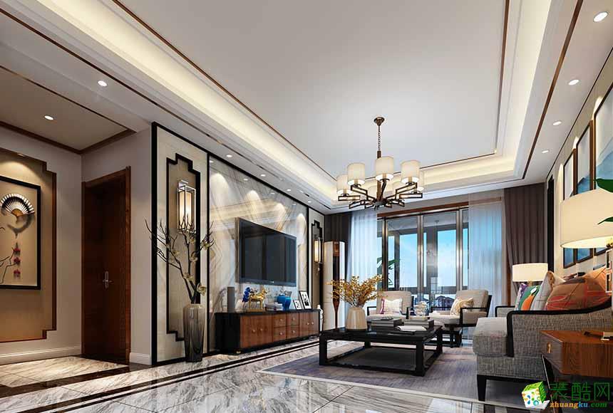 岳阳蓝迪装饰-120平米中式三居室装修案例