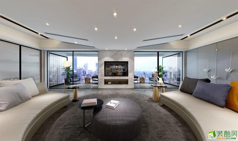 重庆南滨特区大平层装修效果图丨现代轻奢风格设计作品