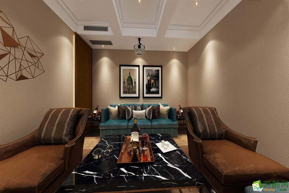 >> 观岭国际别墅369平米美式风格别墅住宅装修案例效果图--朗润装饰