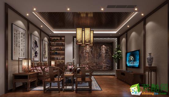 中式风格110平米三室两厅装修案例效果图--汉典装饰