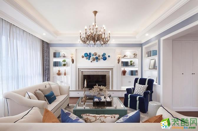 现代美式风格130平米四居室装修案例效果图-汉典装饰