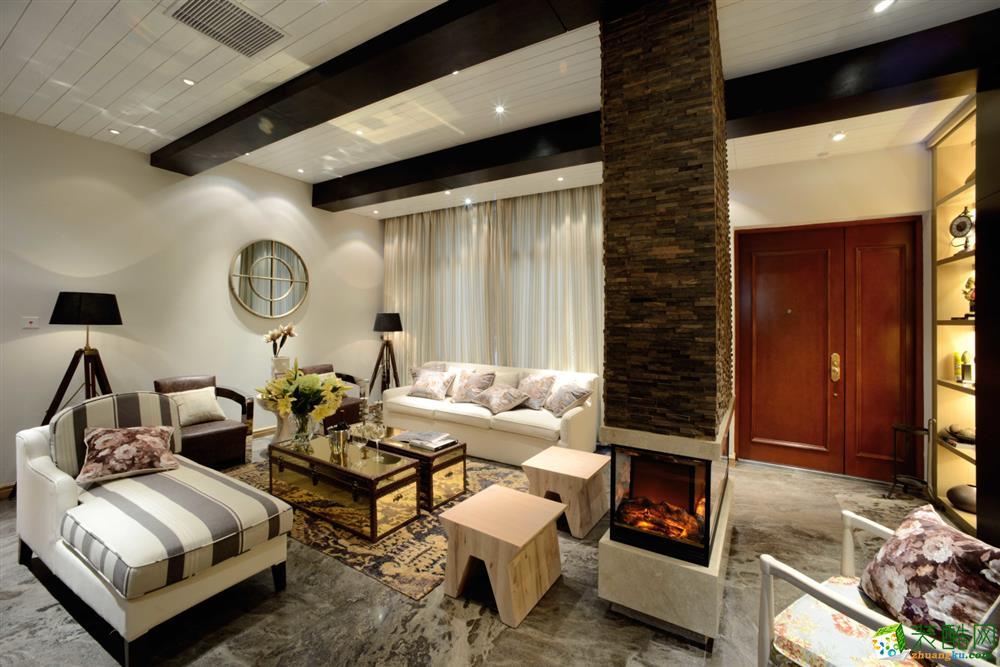 万科理想城105平米田园风格两室一厅装修案例效果图--凯瑞馨装饰