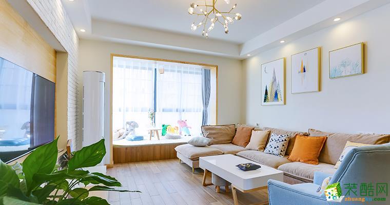 北欧风格118平米三室两厅装修案例效果图--管家宅配装饰