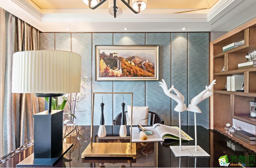 >> 新中式風格120平米三居室裝修案例效果圖--簡本裝飾