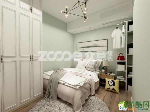 【众意家居】鲁能泰山97平米美式风格三室两厅装修案例效果图