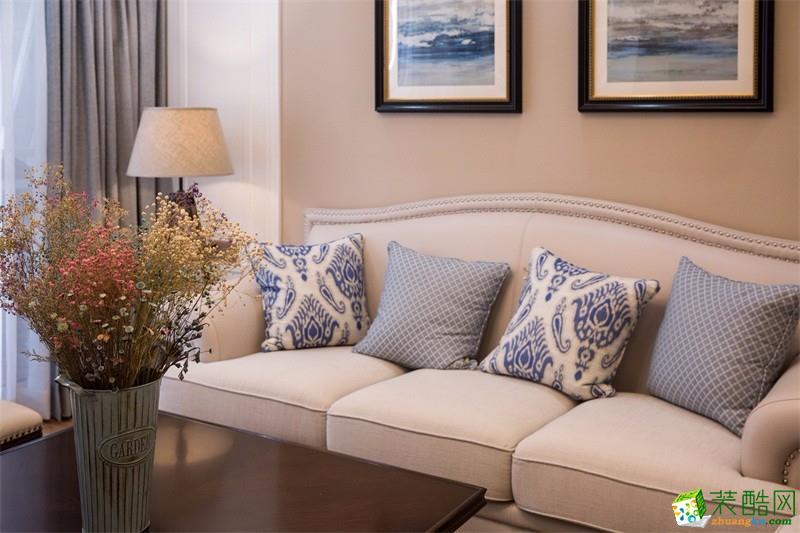 客厅  【百合装饰】120平米美式风格装修案例图
