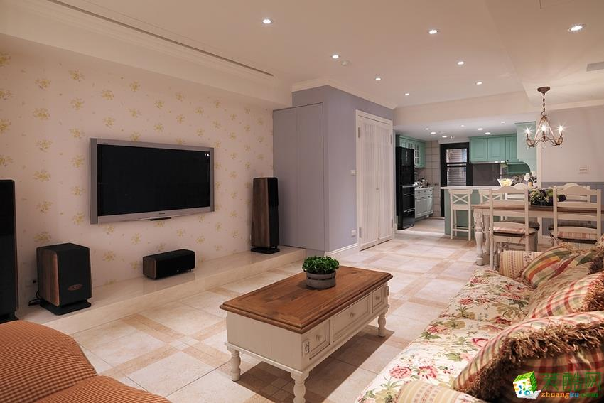 客厅  衡阳天成华美装饰-120平米田园三居室装修案例