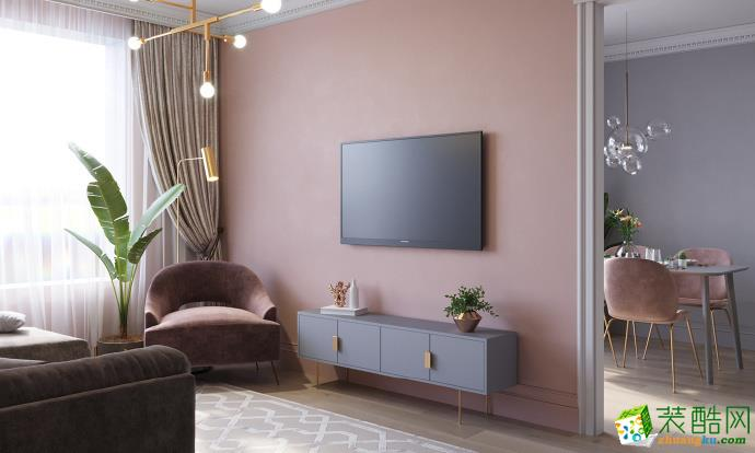 【中庚城】粉色墙面、蓝灰色橱柜的温馨小屋