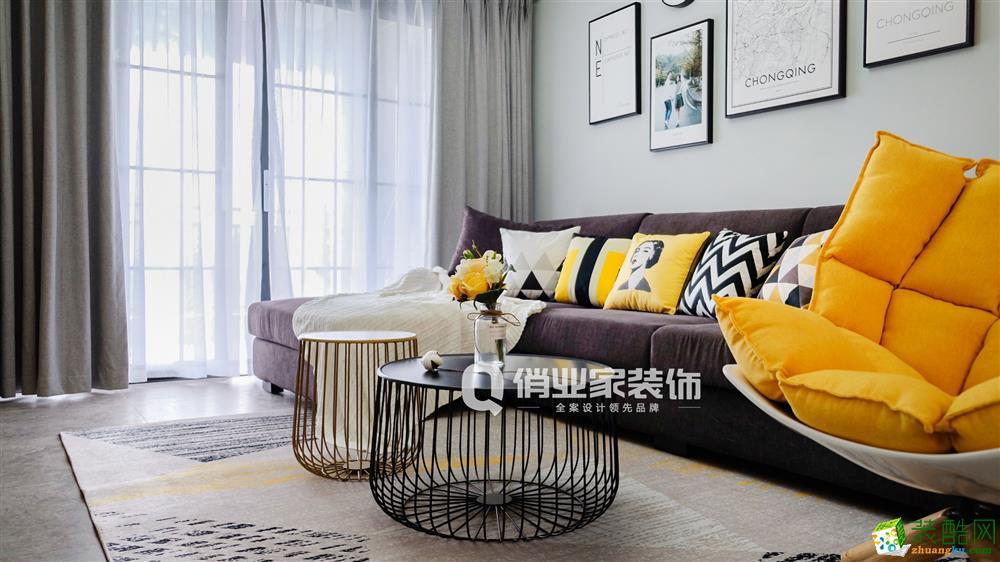 【俏業家裝飾】首鋼美利山 現代北歐87平米三居室裝修案例效果圖
