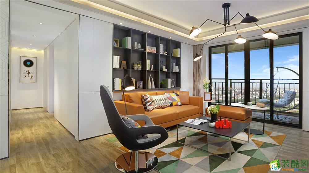 现代简约风格120平米三室两厅装修案例效果图--金煌装饰