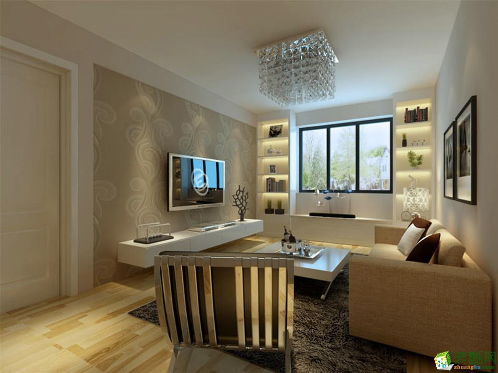 90平米现代风格两居室装修案例效果图--创艺装饰