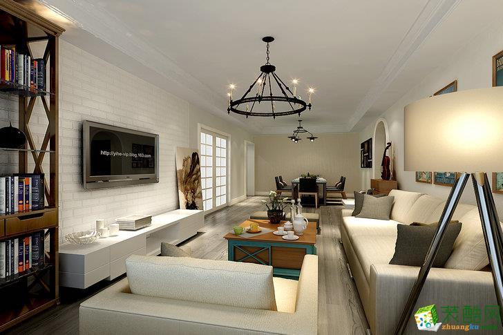 现代简约风格118平米三居室装修案例效果图--点石装饰