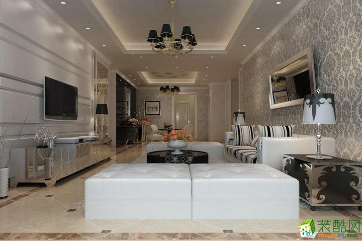 现代简约风格102平米三室一厅装修案例效果图--名匠装饰