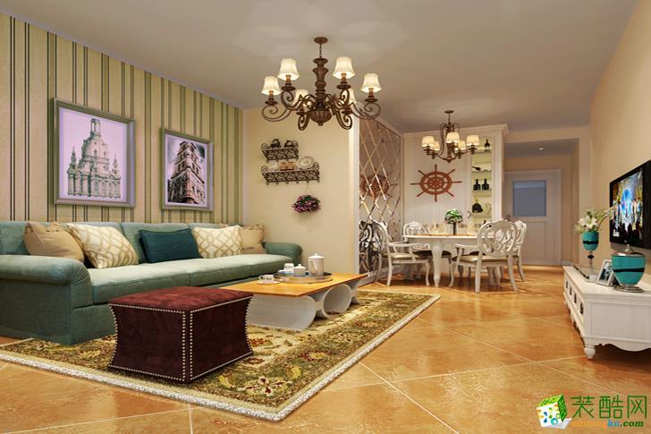 简欧风格90平米两居室装修案例效果图--隆庭装饰