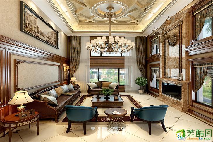 欧式风格300平米别墅大宅装修案例效果图--大中发装饰