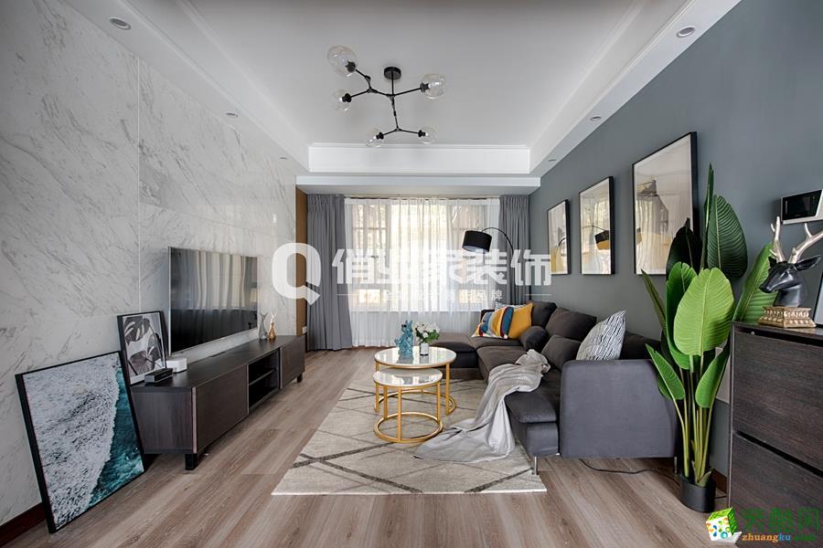 【俏业家装饰】融创凡尔赛|现代北欧风格82平米三居室装修案例效果图赏析。