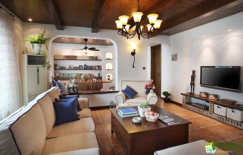 地中海风格156平米三室两厅装修实景案例图--胭脂设计