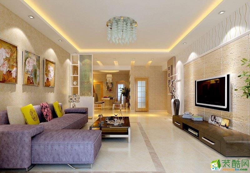 140平米現代簡約風格三室兩廳裝修案例效果圖--生萬__