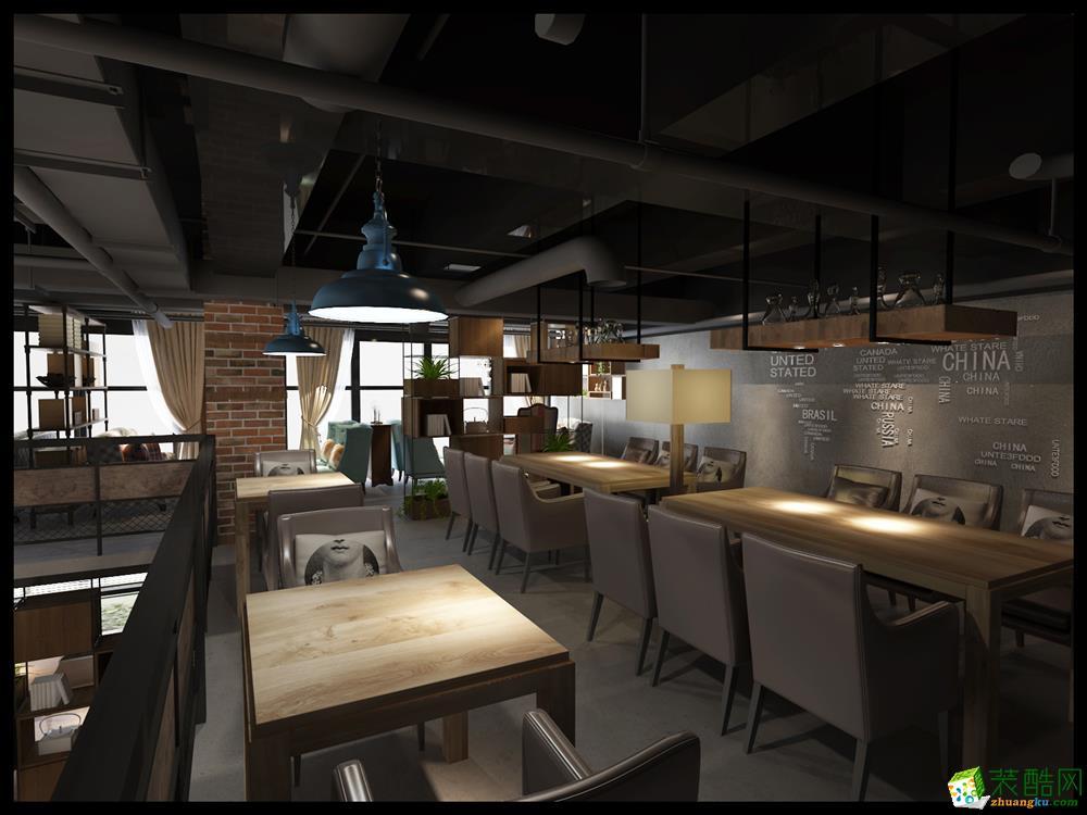 合肥甲方章鱼直播间章鱼直播app官网—工业风咖啡厅装修设计效果图