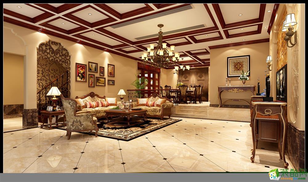 260平米美式风格别墅花园装修案例效果图赏析--重庆宏韵装饰