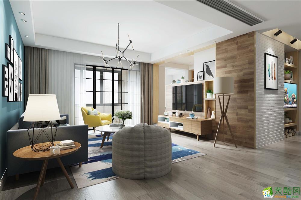北欧风格120平米三室两厅装修案例效果图--云上装饰