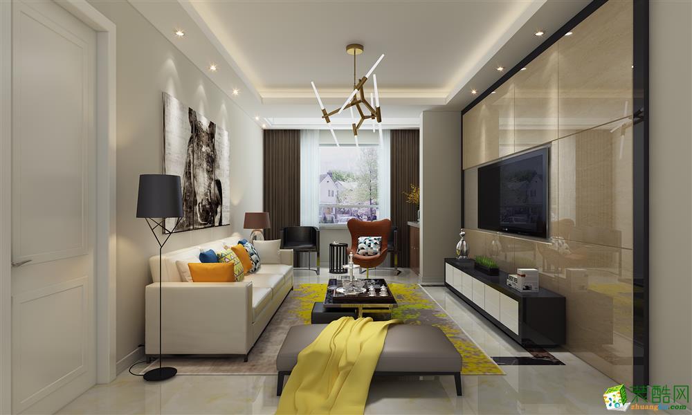 现代简约风格100平米三室两厅装修案例效果图--华浔品味装饰