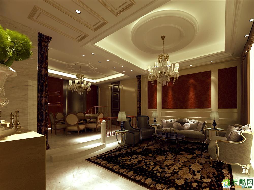 简欧风格128平米三室两厅装修案例效果图--岭寓装饰