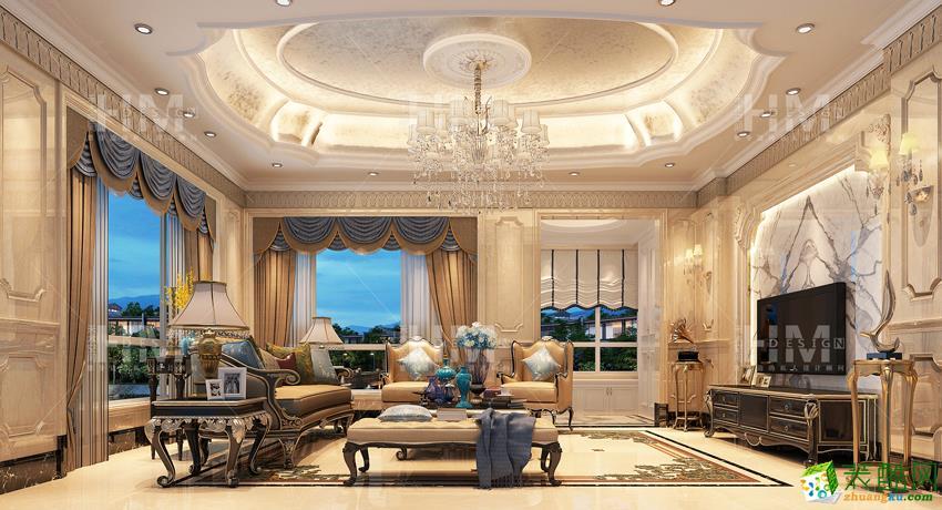 欧式风格400平米别墅住宅装修案例效果图--禾木空间装饰