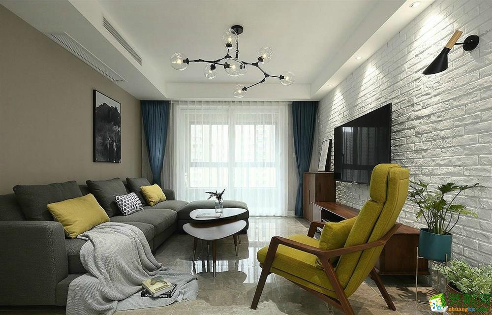 智绘家作品―和昌熙溪里92方现代风格三室一厅装修效果图