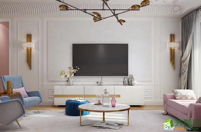 法式风格86平米三室两厅装修案例效果图--御用装饰